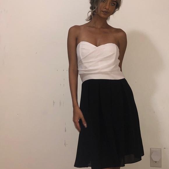 Strapless Contrast Mini Dress